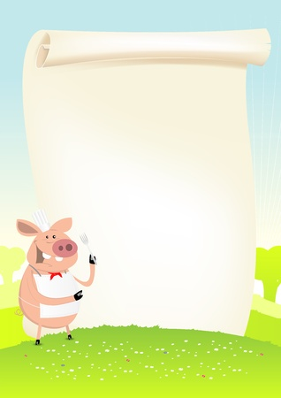 Illustration of a funny cartoon pig cook holding a fork and showing his menu Vector