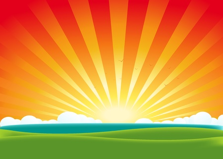 lake sunset: Illustration of a cartoon summer landscape poster background