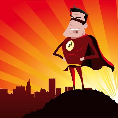 marvel: Illustration eines Cartoon-Superheld steht stolz vor den Toren der Stadt, �ber die er wacht und die Sonnenstrahlen hinter
