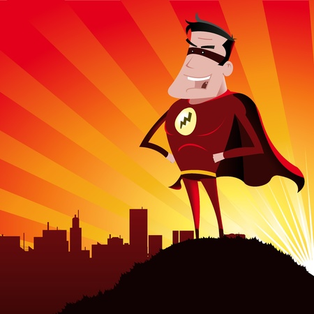 Illustration of a cartoon super hero standing proudly on the outskirts of the city  over which he watches and the sun beams behind Stock Vector - 11248790