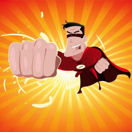 avenger: Ilustración de un héroe de dibujos animados llamativos cómics con punch Vectores