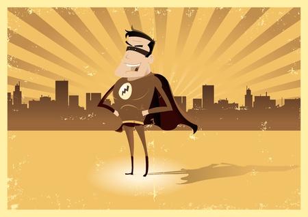 avenger: Ilustración de un cartel de época retro de súper héroe cómico de pie con orgullo a la ciudad detrás de