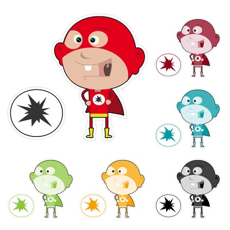 Illustration of funny cartoon super kid sticker with multiple colors Vector