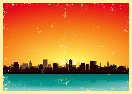 retro sunrise: Illustration of a vintage poster background of summer urban landscape
