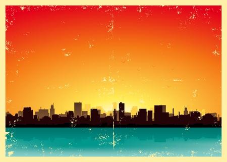 panorama city panorama: Ilustraci�n de un fondo cartel de la vendimia de los paisajes urbanos de verano Vectores