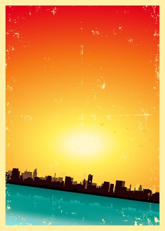 retro sunrise: Illustration of a vintage poster background of summer, spring, autumn or winter seasons urban landscape