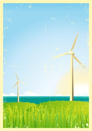 Illustration of spring and summer windmills in the ocean, with sun and grass in the foreground Stock Vector - 11248833