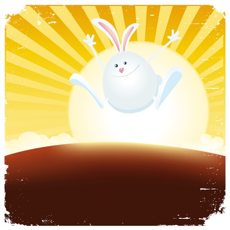 Illustration of a cartoon happy rabbit jumping from the sun, symbolizing the beginning of the chinese rabbit year Vector