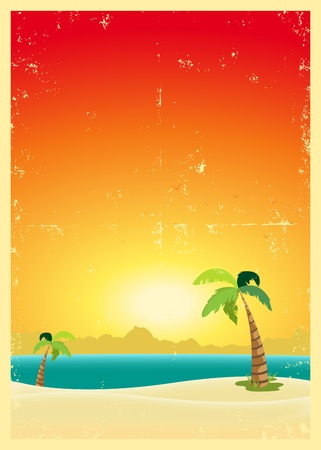 desert island: Illustration of an exotic beach with palm trees and a grunge texture