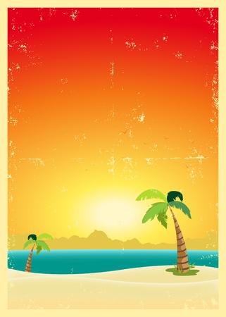 Ilustración de una exótica playa con palmeras y una textura grunge
