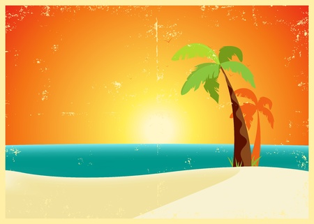 Illustration of a tropical beach poster background in the summer. Stock Vector - 11248818