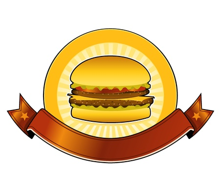 grilled vegetables: Illustration of a mouth watering cheeseburger with beefsteak, salad and tomatoes  Illustration