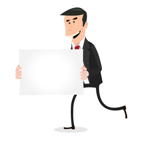 Illustration of A Simple Happy Cartoon White Businessman Running and Holding A Blank Sign Vector