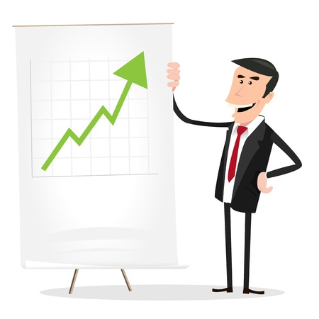 indicator board: Illustration of a cartoon white businessman standing in front of a paper board  showing benefits growth