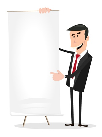 Illustration of a cartoon white businessman standing in front of a paper board showing  benefits growth Vector