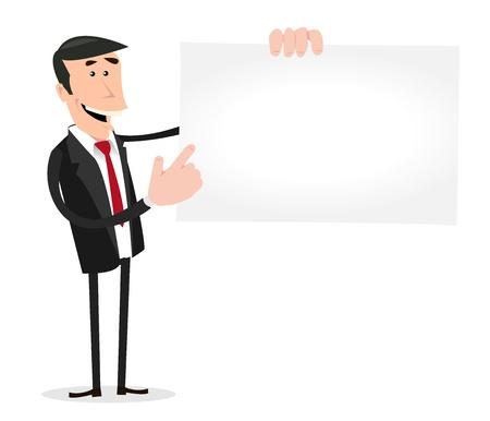 Illustratie van een cartoon witte zakenman toont zijn vcard voor het huren van