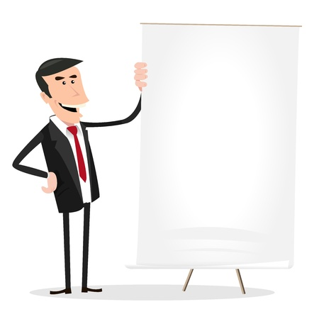 Illustration of a happy cartoon businessman showing excellent income results on a white board Vettoriali