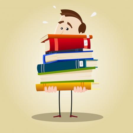 archiv: Illustration eines gesch�ftigen Bibliothekar im Besitz einer gewichtigen Stapel B�cher