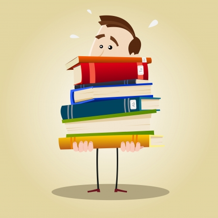 Illustration of a busy librarian holding a weighty pile of books Illustration