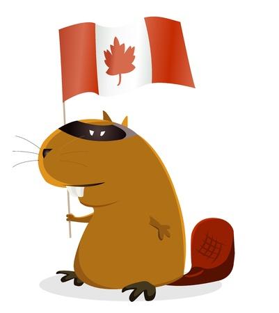 castor: Ilustraci�n de un castor de dibujos animados para la celebraci�n del D�a de Canad�