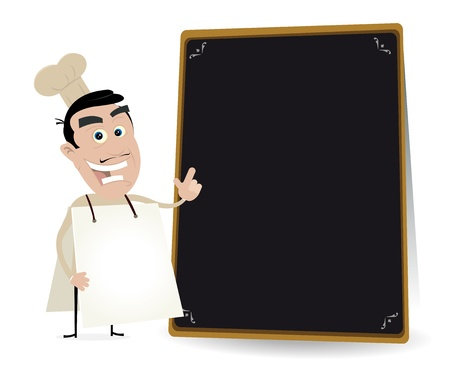 pizza chef: Illustration of a chef cook sandwichman showing the restaurant menu on a blackboard
