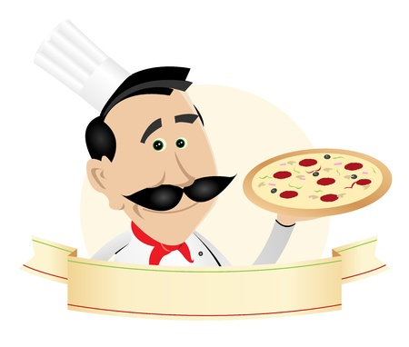 Illustration of a chef pizza cook banner Vector