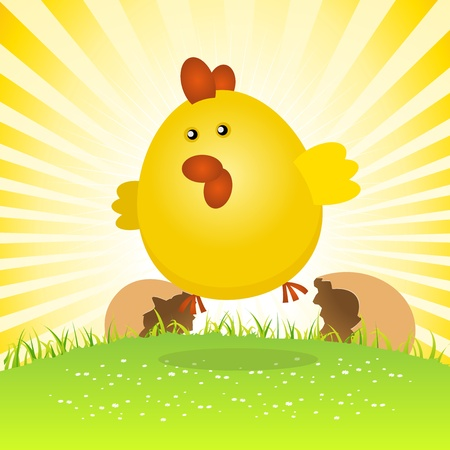 Illustration of a tiny spring easter chick birth, jumping from the eggs. Vector