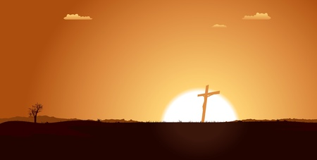 jesus clouds: Illustration of a Christian cross silhouette with rising sun behind in a beautiful desert landscape