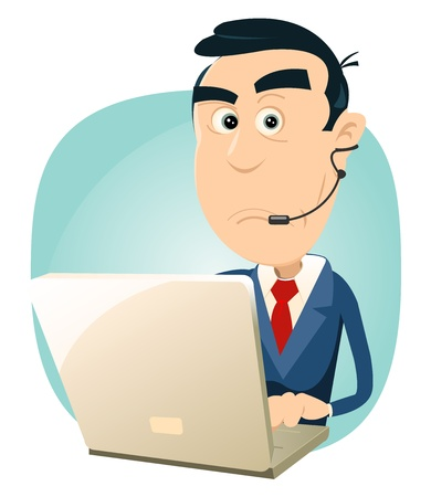 Illustration of a cartoon surprised man IT support Vector