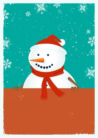 Illustration of a grungy chritsmas poster with snowman and santa claus hat Vector