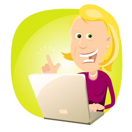 human finger: Illustration of a happy businesswoman having found something on the net with her laptop