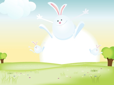 easter sunrise: Illustration of happy easter bunnies jumping in the fields for spring holidays