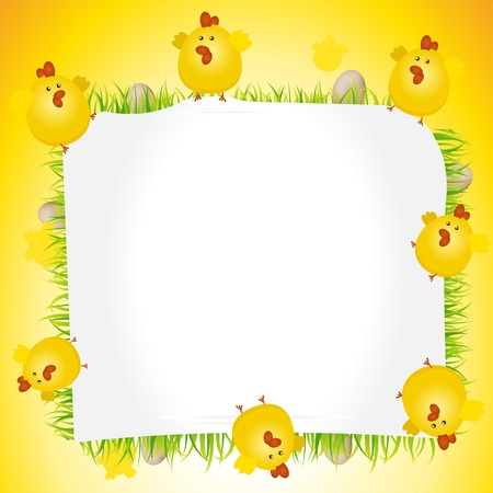 Illustration of Easter chicken holding together a blank sign for advertisement, announcement, holidays banner Vector