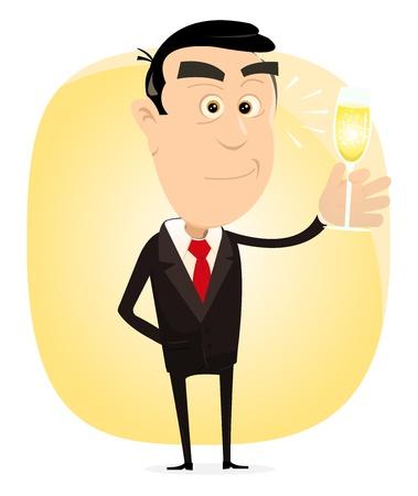unmarried: Ilustraci�n de un hombre bebiendo champ�n elegante para celebrar alg�n negocio exitoso, o un evento de d�a de fiesta