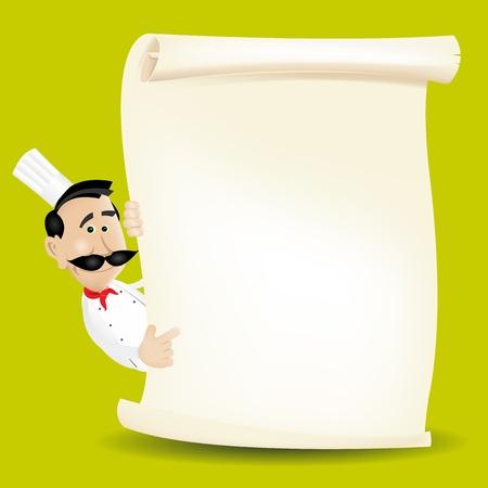 Illustratie van een man van de beeldverhaal witte kok die een perkamentmenu houdt. Zet je beste menu erin!
