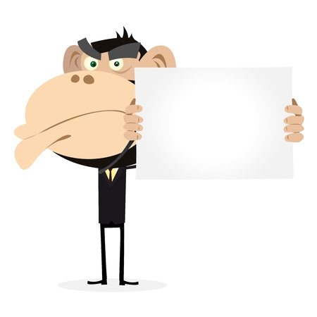 Illustration of A Cartoon Gorilla Businessman holding a blank sign Vector