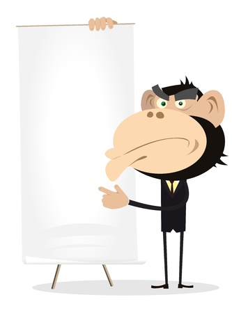 Illustration of A Cartoon White Gorilla Businessman Holding A Paper Board Stock Vector - 11248748