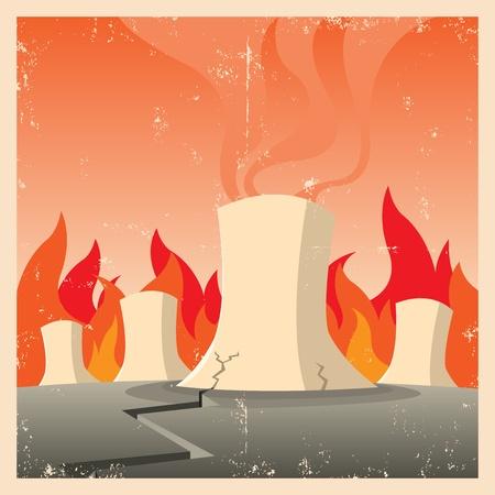 Illustratie van een kernreactor wordt gebakken in noodtoestand
