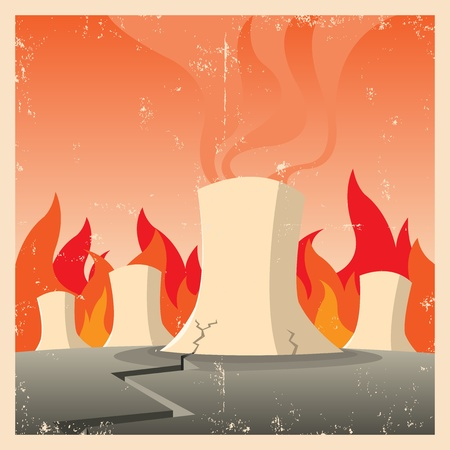 Illustration of a nuclear reactor firing in emergency state Stock Vector - 11248809