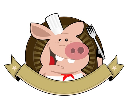 delicatessen: Illustration of a pig chef cook banner holding fork