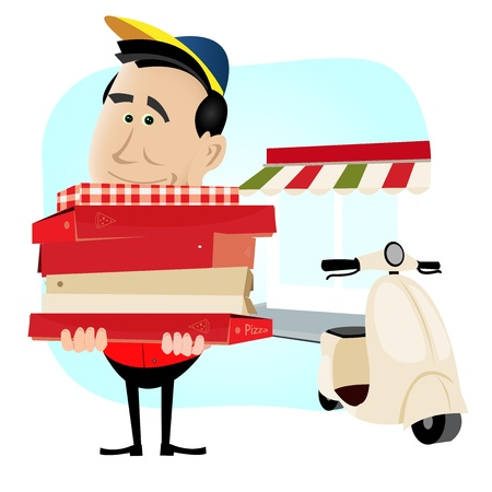 weighty: Illustration of a cartoon pizzaman holding a weighty pile of pizza