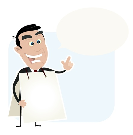 Illustration of a cartoon white young sandwich man telling good advice Vector