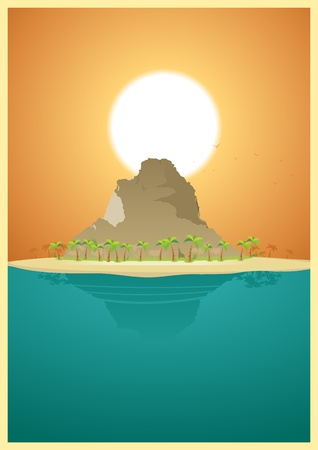 Illustration of a tropical mountain, travel destination to find paradise Vector