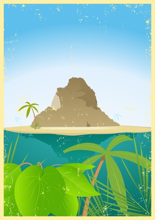 promised: Illustration of a tropical mountain, travel destination for travel and tourism agency
