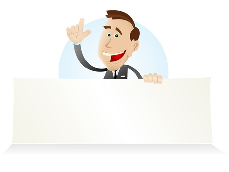 Illustration of a cartoon white businessman holding advertisement sign for your communication Vector