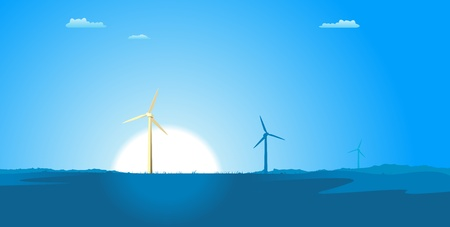 Illustration of spring or summer windmills in a blue atmosphere, with sun and grass in the foreground Stock Vector - 11248783