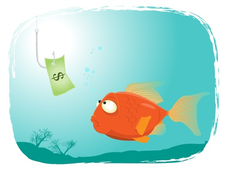 deadly danger sign: Illustration of a cartoon fish looking at dollar paper