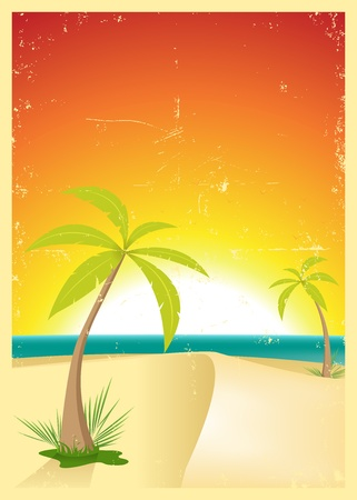 retro sunrise: Illustration of an exotic beach with palm trees and a grunge texture