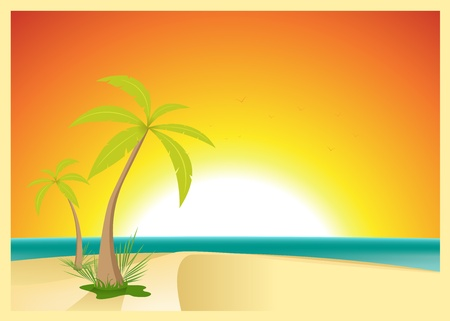 retro sunrise: Illustration of a beautiful exotic beach with palm trees for your vacations
