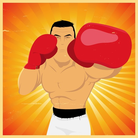 male boxer: Illustration of a grunge boxing man, doing left jab technical gesture